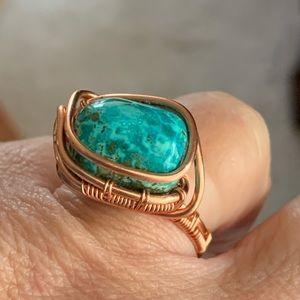 Turquoise sz 8. Handwoven tarnish resistant copper